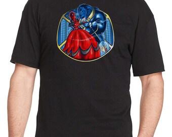 Beauty & The Beast T-Shirt - Deadpool and Xmen Mashup T-Shirt