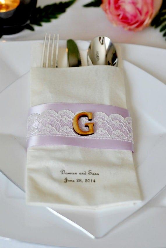 Monogrammed Scalloped Lace Linen Like Wedding Napkin