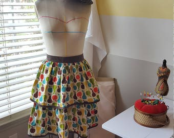 Retro Fruit Print 2 Tiered Gathered Skirt Apron