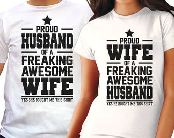 Anniversary gifts - Wedding Gifts For Couple - Couples Gift Set - Couples Shirts - Freaking Awesome Wife & Husband Couple Tees