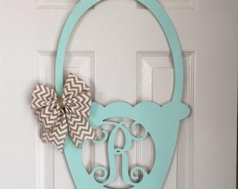 Monogram Easter Basket Door Hanger - Spring Door Hanger - Easter Basket Initial Wreath - Monogram Easter Basket Wreath - Holiday Door Hanger
