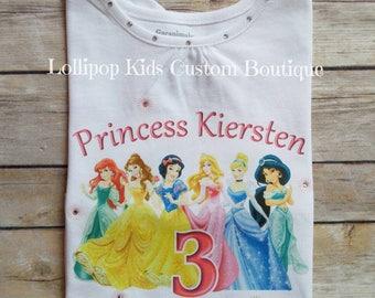 Disney Princesses white short sleeve Birthday Shirt