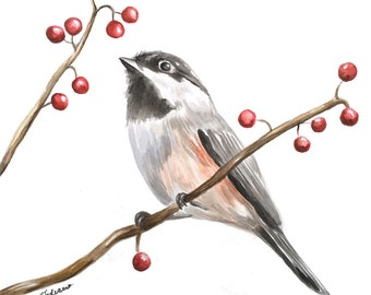 Bird Watercolor Painting // Bird on Branch // Bird Art // Unframed // Gift for Bird Lover // Original Painting // Winter Bird