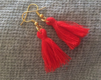 Red Gold Tassel Earrings
