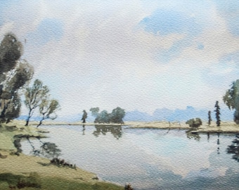 The Windrush river in the Cotswolds, England. English landscape painting fine art print of original watercolour rural trees fields