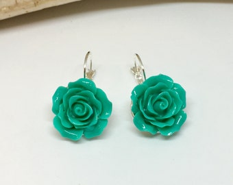 Teal Rose Earring - Leverback Earring - Resin Rose Earring - Flower Cabochon - Gift for Her - Handmade Earrings - Spring Jewelry