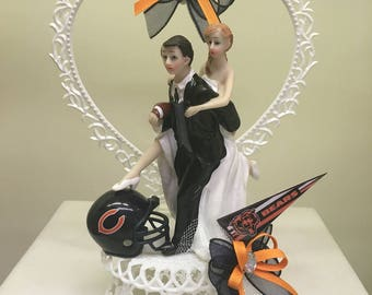 Chicago Bears inspired wedding cake topper, sports team cake topper, wedding accessories, NFL cake top, shower cake top. 10 teams available