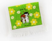 Vintage 1970's LOVE IS . . . for sharing |  hand towel Groovy Retro Green Yellow White Daisies