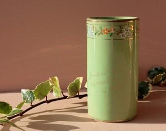 French antique ceramic vase. Souvenir de Lamalou-les-bains. Hand painted