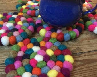 RAINBOW Ball COASTERS Handfelted 100% Wool (set of six)