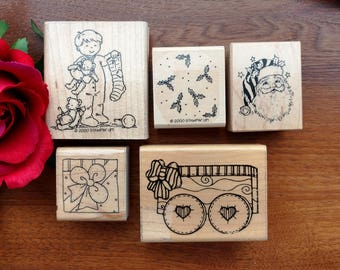 Christmas Rubber Stamps Set of 5, Santa, Stocking, Holly, Wagon, JRL, DOTS, Stampin Up