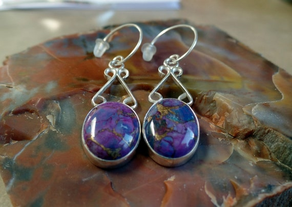 Unique Purple Turquoise Earrings 1068