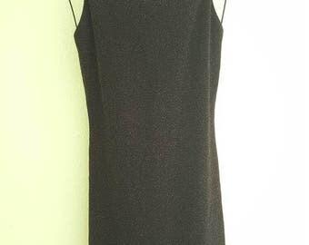 Vintage 90s Black Clubkid Backless Mini Dress with Gold Sparkles