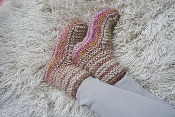 Knitted Slipper Socks,Boot Slippers, Winter Indoor Slippers, Indoor Shoes, Cosy Slipper Socks, Christmas Gift for Her