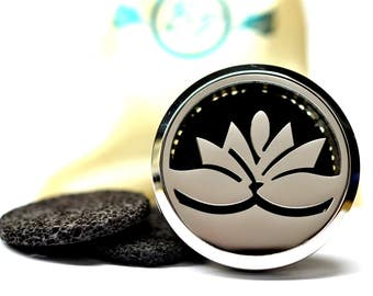 Essential Oil Car Diffuser Accessory // Lotus Stainless Steel 38MM // With 3 Lava Stone Diffusers / & Choice of 2ML Essential Oil