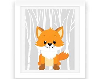 Woodland Fox Wall Art - Printable Art - Baby Room Nursery Decor - Baby Room Wall Decor - Instant Download - Nursery Wall Art - Baby Print