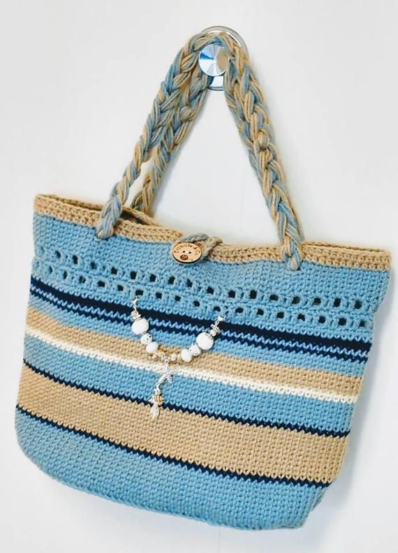 Teal And Cream Beach Tote Pattern From Primulacocrafts On