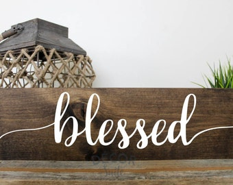 """Blessed Painted Wood Sign