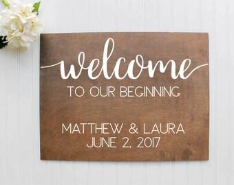 Welcome Wedding Sign| Wooden Wedding Welcome Sign| Rustic Wedding Decor| Farmhouse Wedding| Spring Wedding| Summer Wedding #3