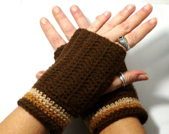 "50% OFF Crochet Gloves: ""BROWN GLOVES"" Fingerless Brown mittens, Hand Warmers Hand Knit Mittens, Ladies Winter Mittens Winter accessory A180"