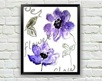 Purple Flower Print, Floral Print, Floral Decor, Watercolor Print, Watercolor Painting, Purple Print, Purple Artwork, Floral Wall Art