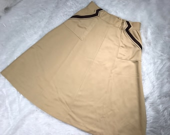 Vintage 70's Camel Tan Brown Trim Pockets Knee Length Swing Skirt Medium