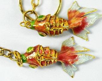 A Pair Of Purple-Red Cloisonne Copper Enamel Articulated Goldfish Koi Fish Figurine,Making Pendant & Earrings Eardrops,Decoration Ornament,