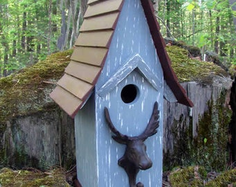 Moose Gray Birdhouse, Wooden Birdhouse, Painted Birdhouse, Outdoor Birdhouse, Rustic Birdhouse, Bird House
