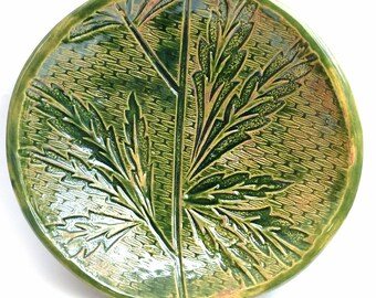 Ceramic / pottery bowl with an impressed leaf design in deep green glaze, perfect for dining, home decor