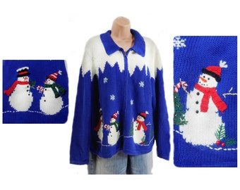 Snowman sweater - Ugly Party Sweater - Women's Christmas Clothing - Tacky Christmas Sweater  - Zip sweater - size X large  # 23
