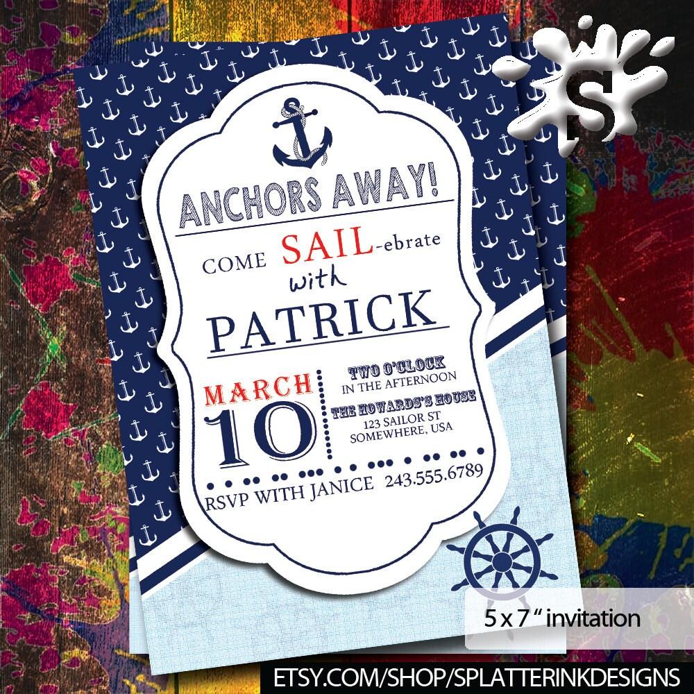 Boys Birthday Invitations | Nautical Invite | Boys Birthday ...
