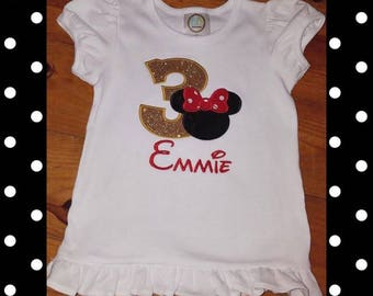 Minnie Mouse Birthday/ 3rd Minnie Birthday/Disney Shirt/Minnie Mouse/Minnie Birthday/Girls Minnie Shirt/3rd Birthday/Disney 3rd Birthday
