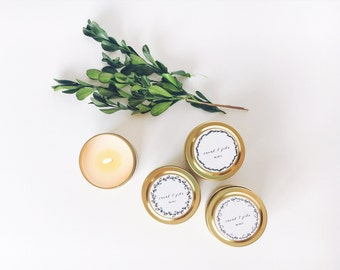 Set of 50 Wedding Favors, 2 oz Gold Tin Personalized Candle, Candle Wedding Favor, Wedding Favor Candles, Party Favors, Baby Shower Favors