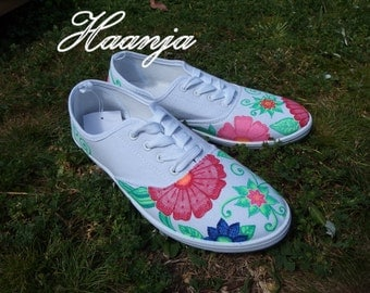 Hand painted colour flower style shoes