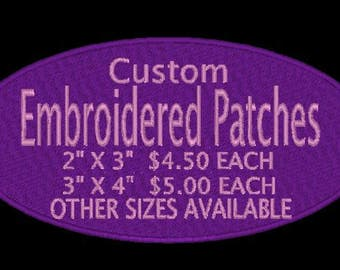 Embroidered Custom Patches Iron On, Sew On, or Velcro