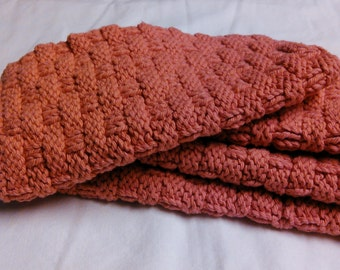 hand knitted washcloths -- set of 4 -- 100% cotton