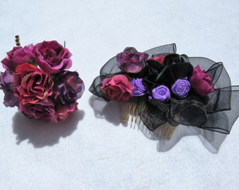Dark purple flower Hair comb