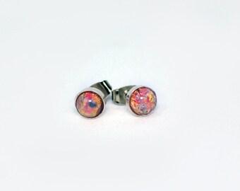 Fire Opal Glass Stud Earrings