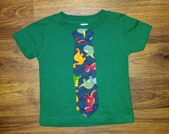 Green Tshirt with Dinosaur Tie