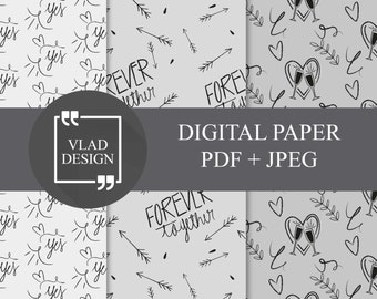 3 Black contour Wedding paper pack Wedding patterns Digital wedding gift wrapping paper Forever together Hand drawn funny Digital paper pack