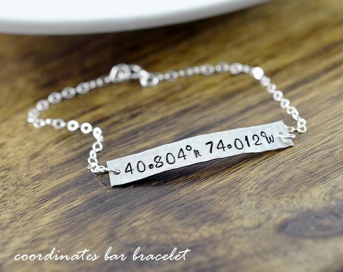 Nameplate Bracelet - Bar Bracelet  Coordinate Jewelry, GPS Coordinates, Coordinates Gift, Coordinate Bracelet, Valentines Day Gift for Her
