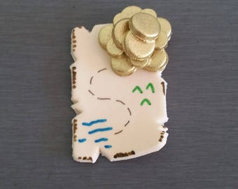 6 x Pirate Treasure Map Cupcake toppers, fondant treasure mape cake toppers, edible fondant treasure map decorations