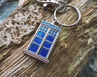 Doctor Who themed keyring. Tardis. Whovian. Police box.