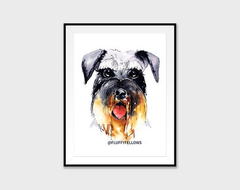Schnauzer Dog Art Print - modern watercolour art, dog, painting,animal art,wall decor,illustration, wildlife,art animal lovers, dog portrait