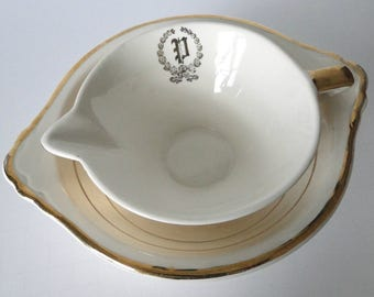 Set of Two, Salem, Streamline, China, Gravy Boat, Bowl Set, 23 Kt Gold Trim, Vintage. Kitchen and Dining
