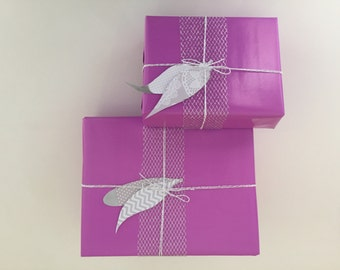 Wrapping Paper / Gift Wrapping / 2 Full Paper Sets / Magenta Wrapping Paper / Ribbon / Twine