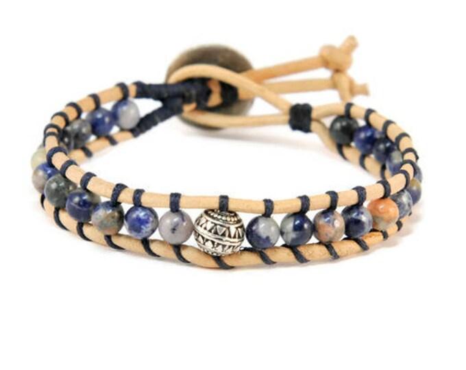 Blue Lagoon * Men's Boho Style Leather Bracelet. Cuff Bracele. Boho Jewelry. Bohemian Jewelry. Ideas for him. Gift for him. Sodalite