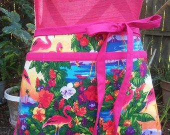 Pink flamingo half apron,waitress apron,teacher apron, utility apron
