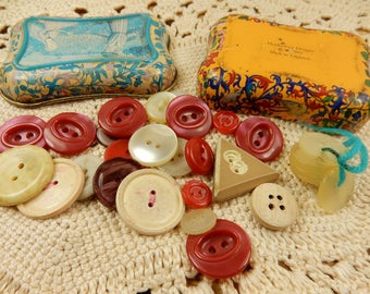 Vintage Buttons, Retro Tin, Red Buttons, Cream Vintage Buttons, Made in England