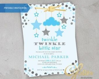 Little star Baby Shower invitation, twinkle twinkle baby shower invitation, digital invitation, boy, stars